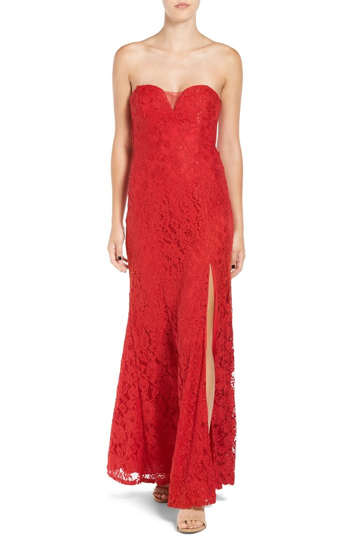 Strapless Red Lace Gown