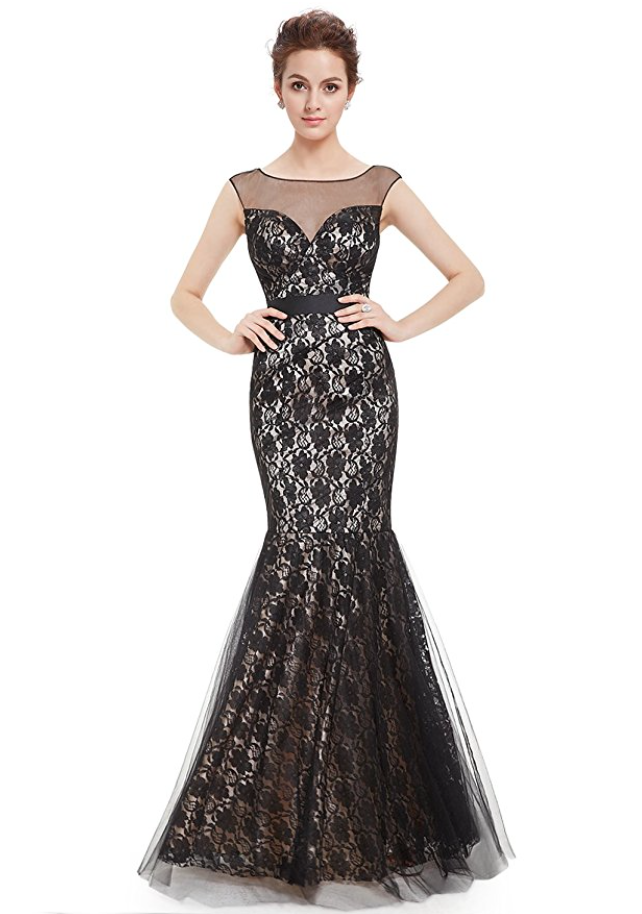Long Black Lace Gown with Mermaid Tail