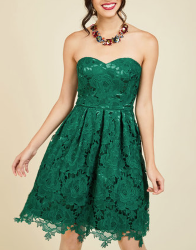 Lace Strapless Dress in Forest Green