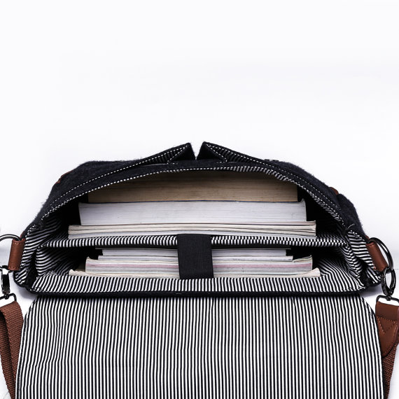 Wool Messenger Tote with Stripes and padded laptop holder - Holiday Gift Guide