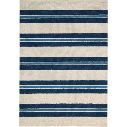 Navy and Cream striped area rug