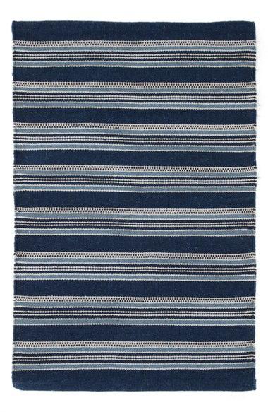 Striped coastal living rug for a beach house