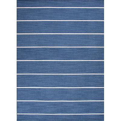 Coastal Living dhurrie rug in navy blue stripe