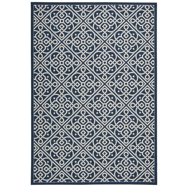 Indoor Outdoor rug in navy and cream for a beach house or coastal look