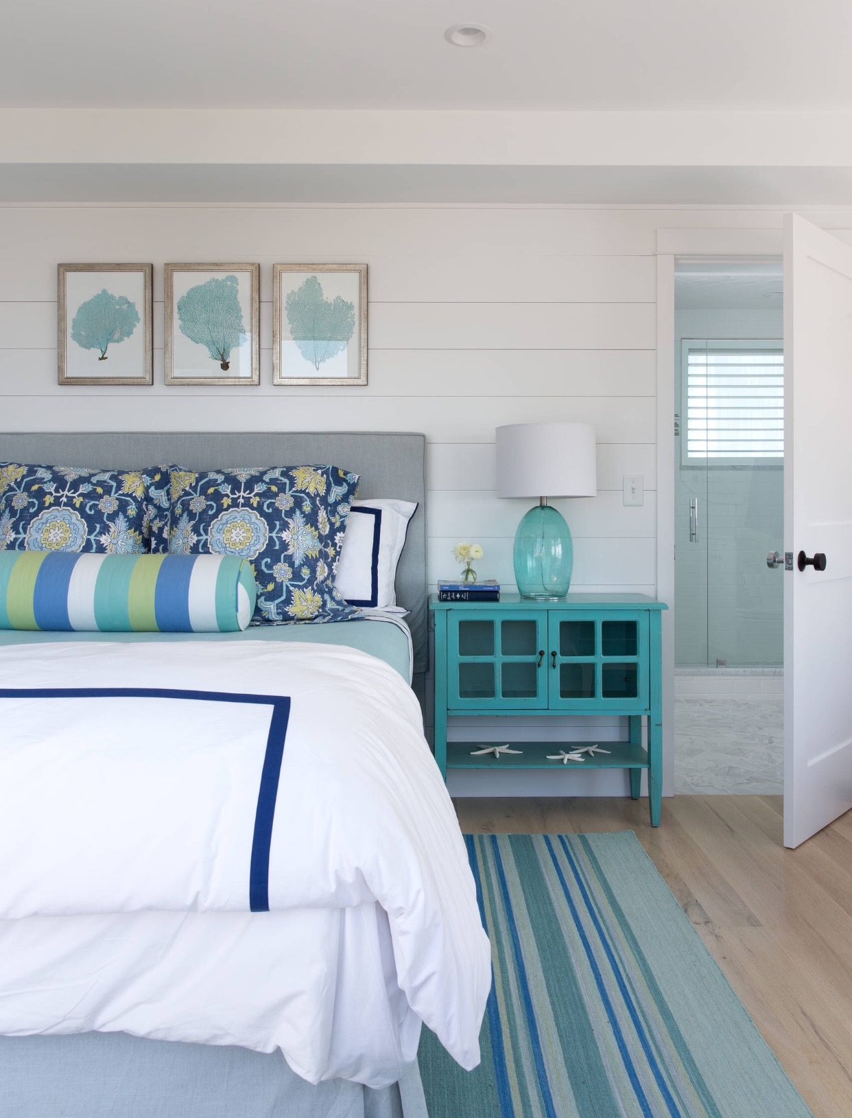 Turquoise and Teal Coastal Bedroom