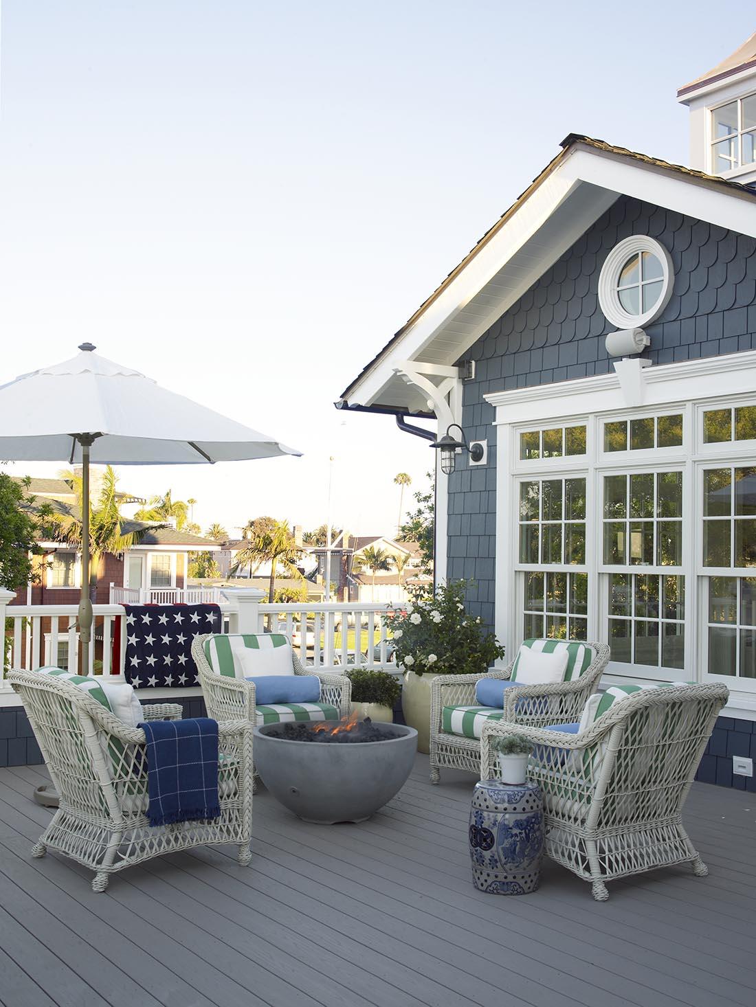 Blue Siding on Coastal Home - Back Patio for Summer