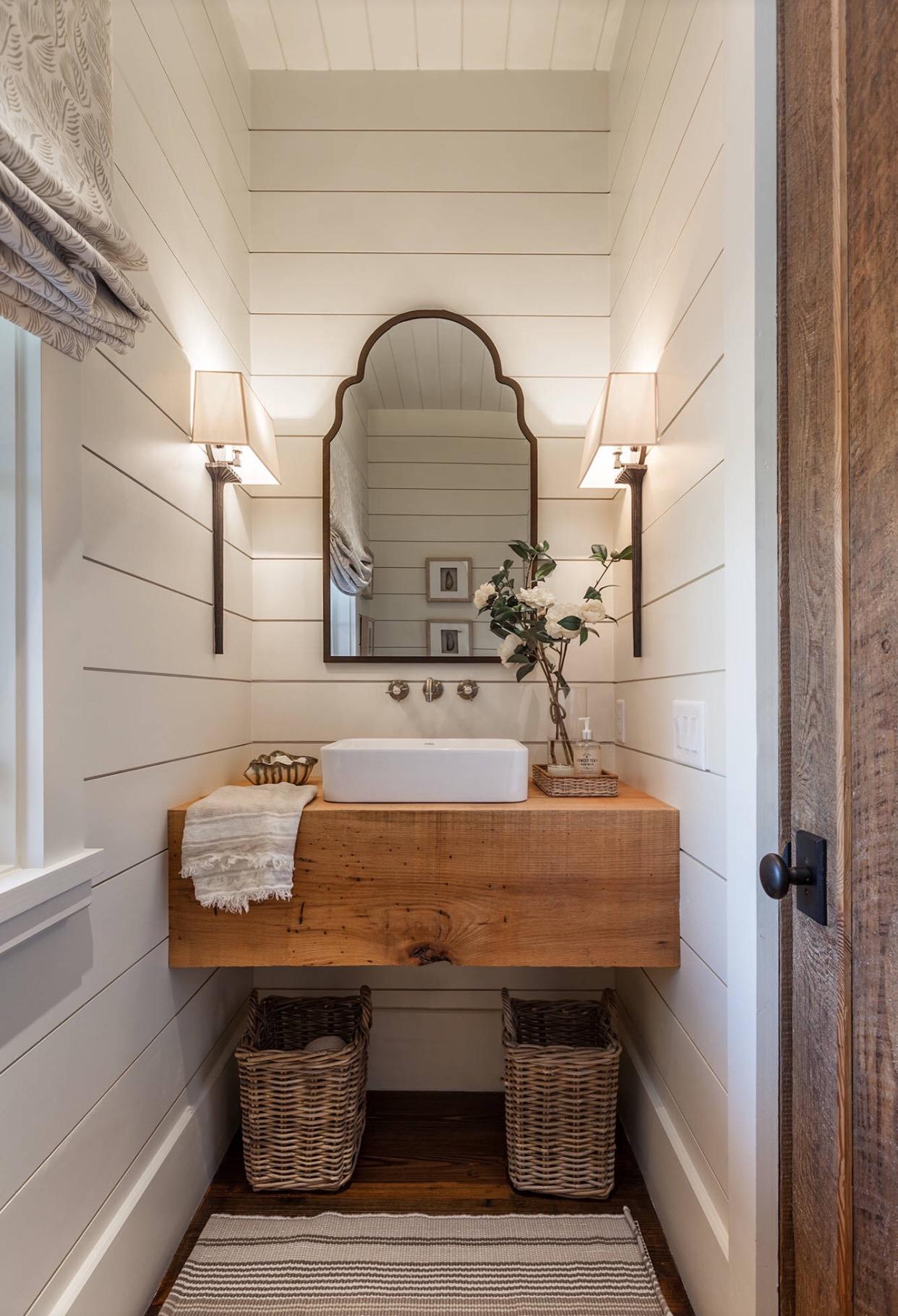 Shiplap Powder Bathroom with Rustic vanity, vessel sink, and shiplap walls