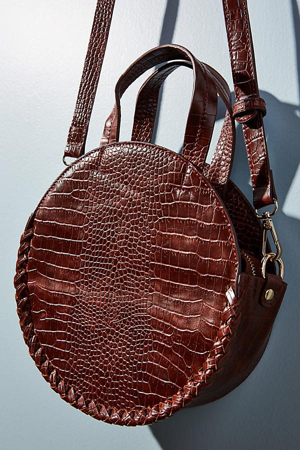 Round Crocodile print cross body handbag