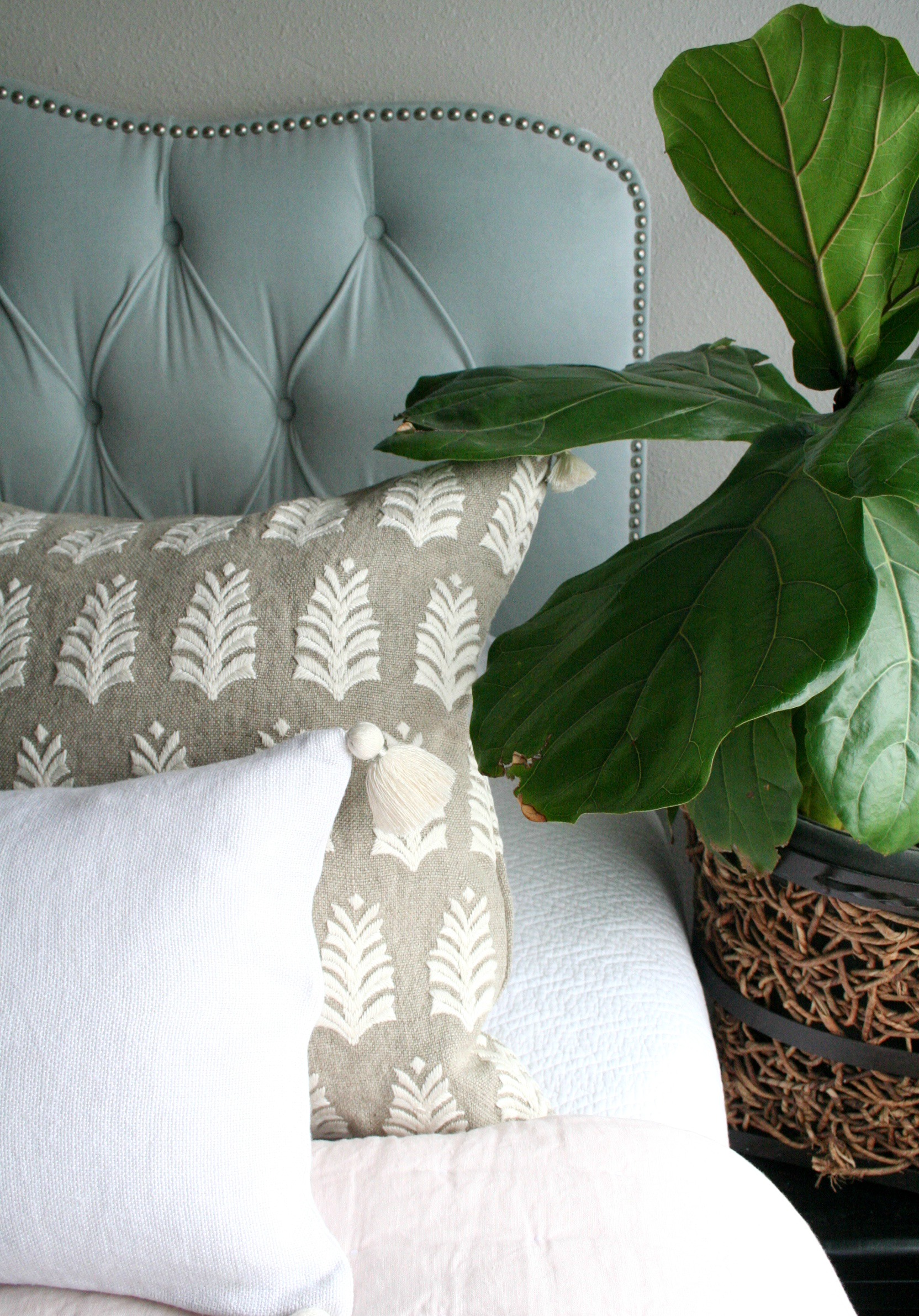 Master Bedroom Embroidered Pillows