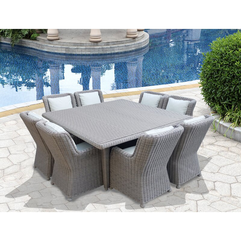 Luxury 9-Piece Wicker Patio Dining Set