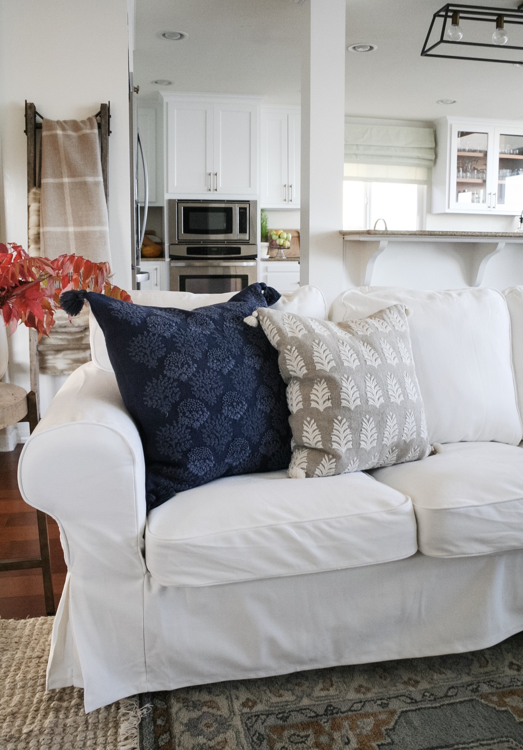 Fall Decor in Blue and White Beach House