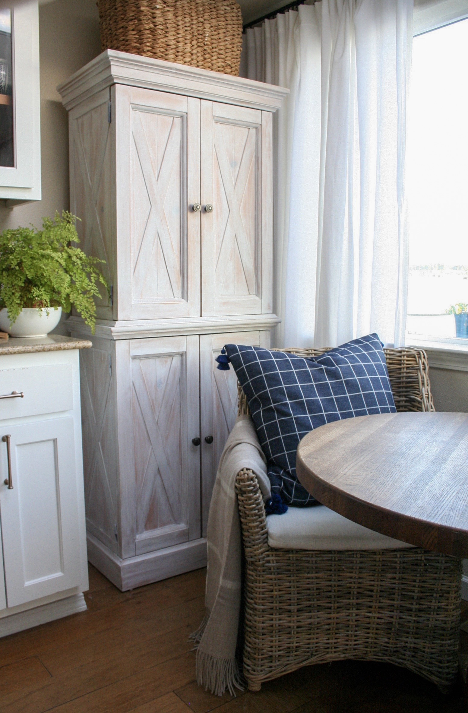 Beach House Kitchen Nook with Freestanding Pantry