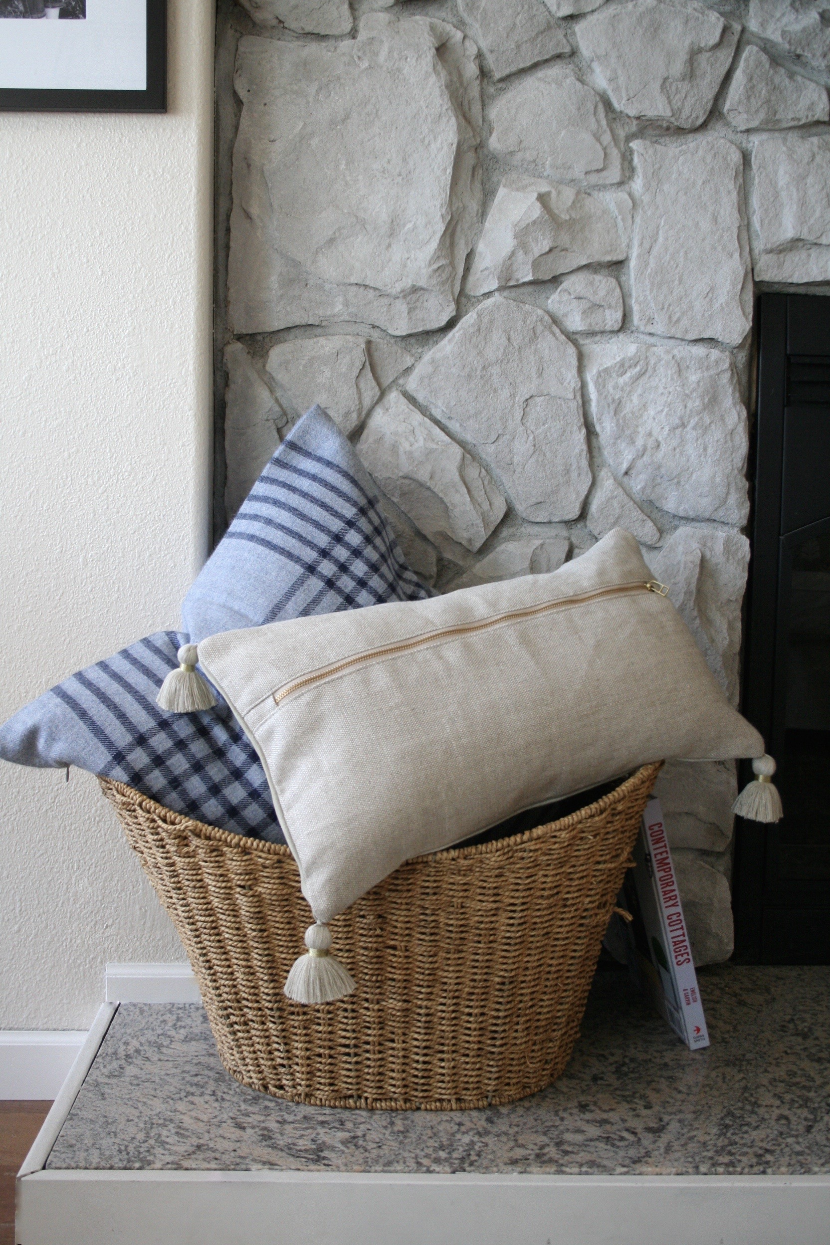 Beach House Stone Fireplace and Pillows in Basket
