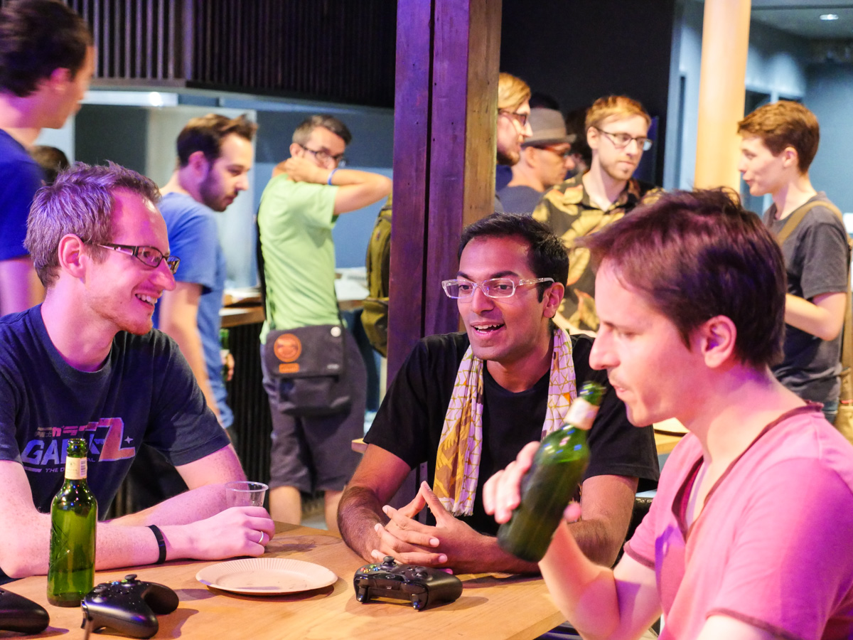 Developers from at least ten different countries all drinking and playing games together. Some are freelancers, other work for local indie developers like Q-Games, Vitei, and 17bit. Occasionally we even get some ex-Nintendo employees!