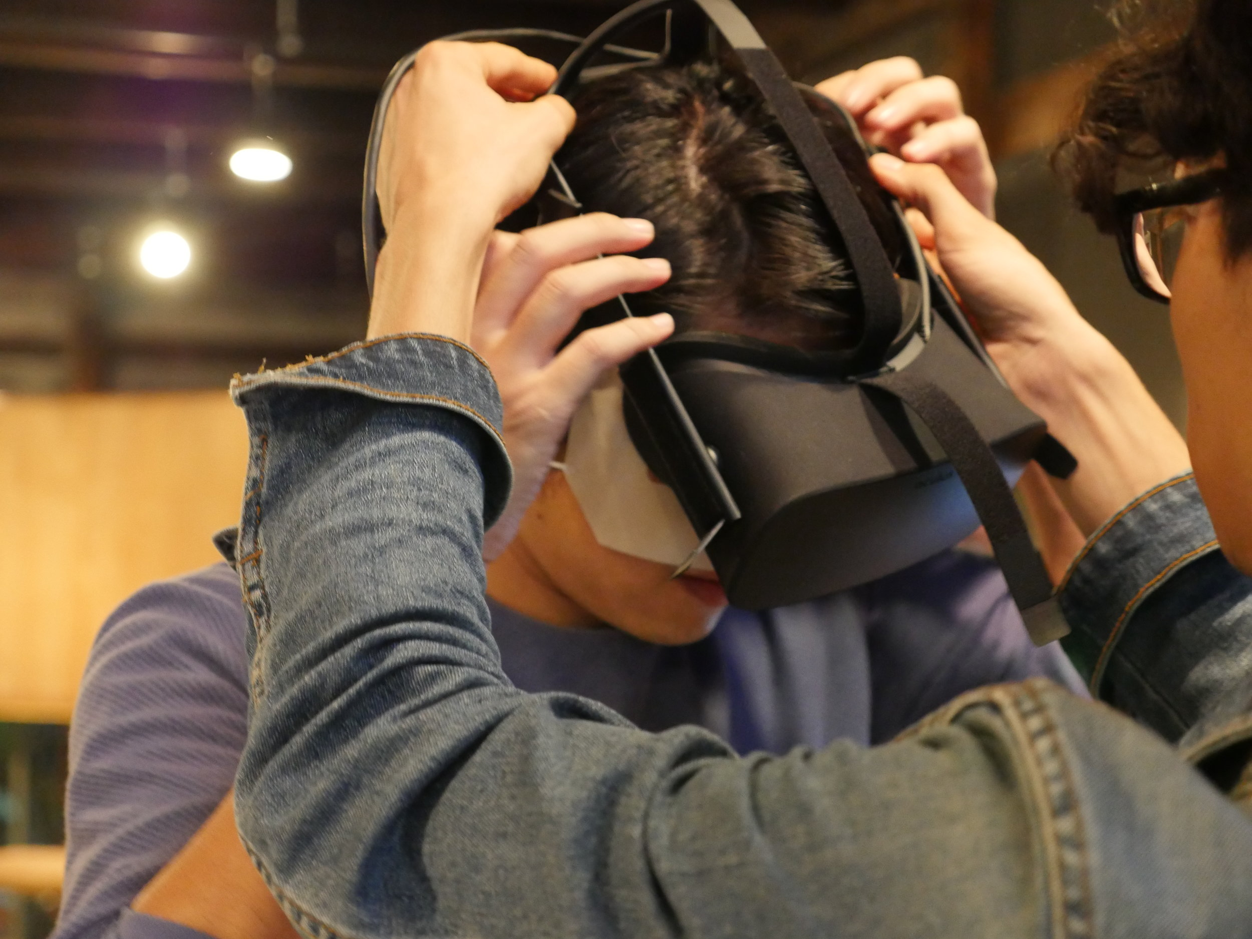 People were lining up to experience Kyoto VR's highly detailed 3D scans of Japanese gardens on the Oculus Rift.