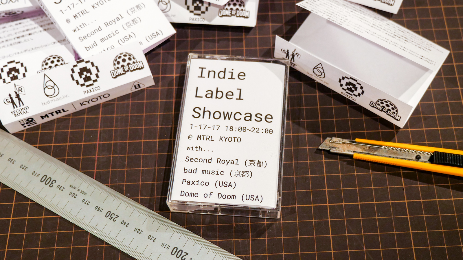 Rather than making a typical flyer, we decided to go with something a little more original and eye-catching. I designed a cassette tape insert with all of the basic information for the event and left them at record stores all around Kyoto.