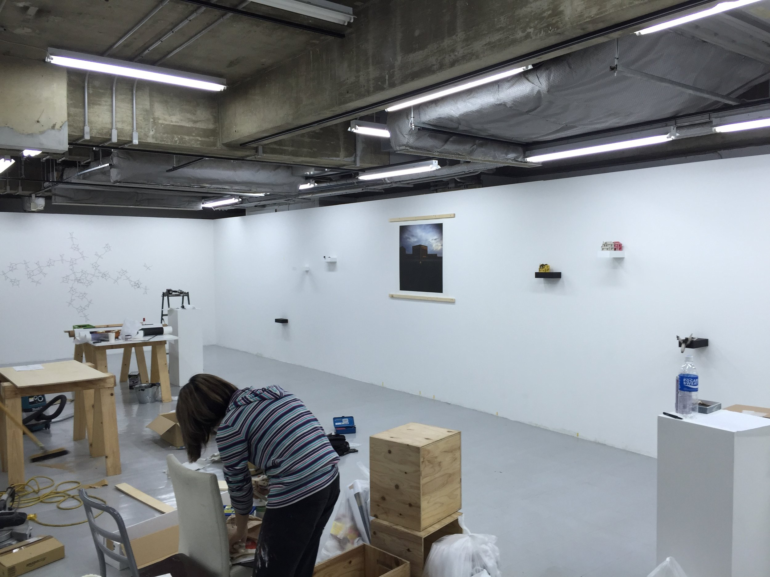 It took almost two days for the student volunteers and I to install the show.