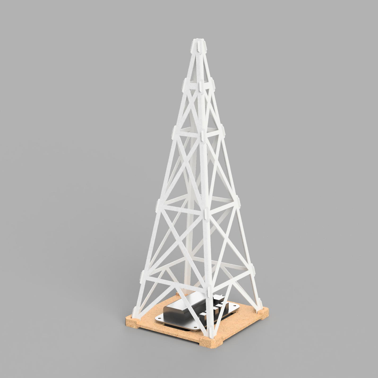 A render image of the paper tower with the radio receiver at the base.