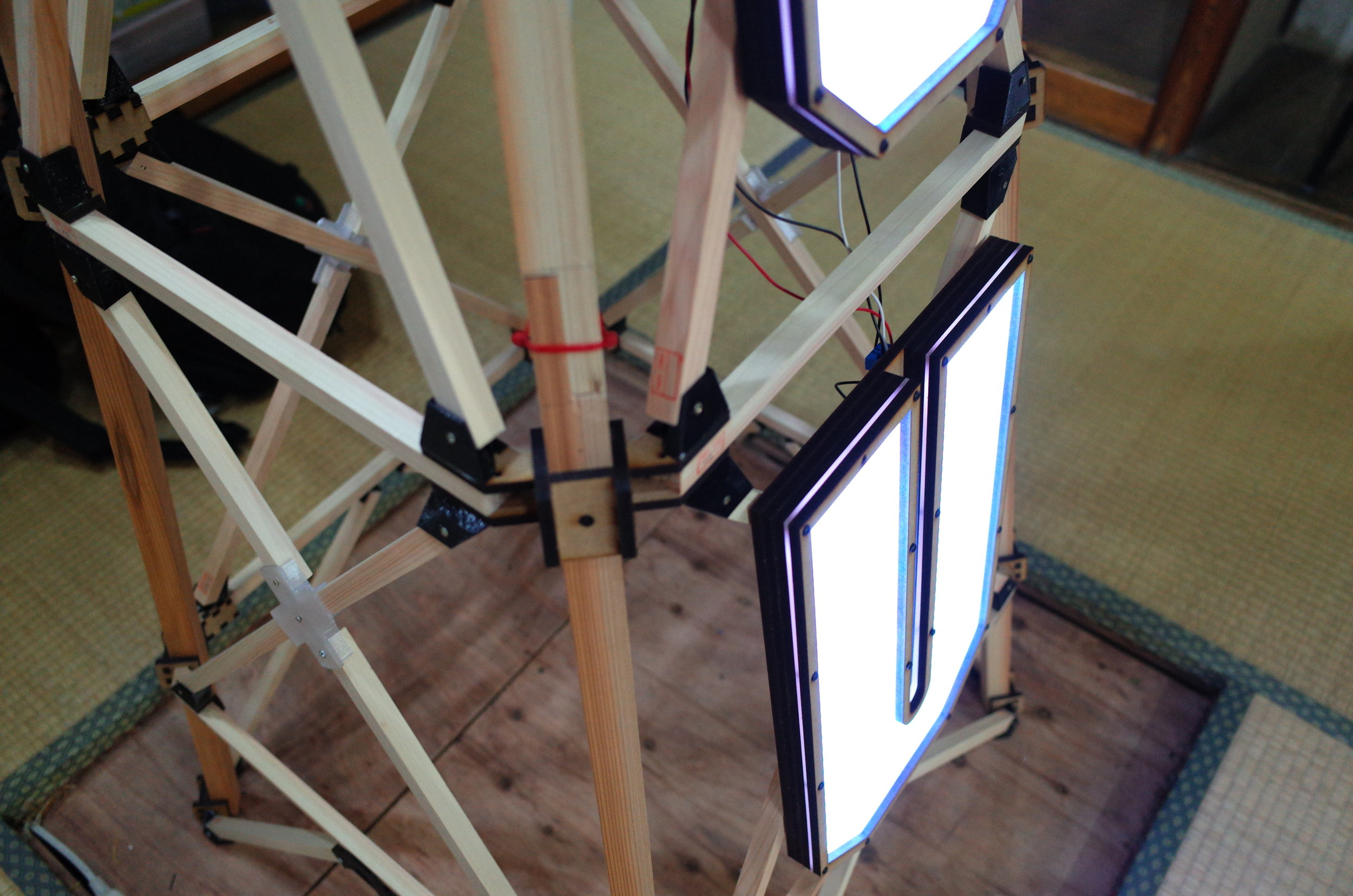 The joints of the tower were made of laser-cut MDF and 3D printed angle parts.