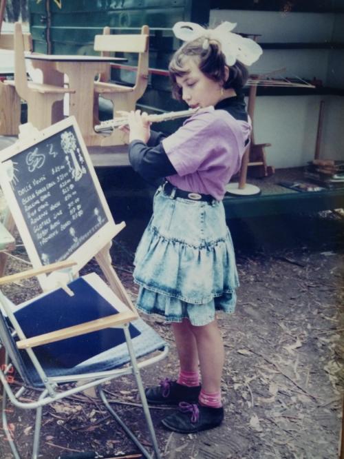 Julie Murray: Busking at the Emu Plains Market, Balnarring, age: 7.