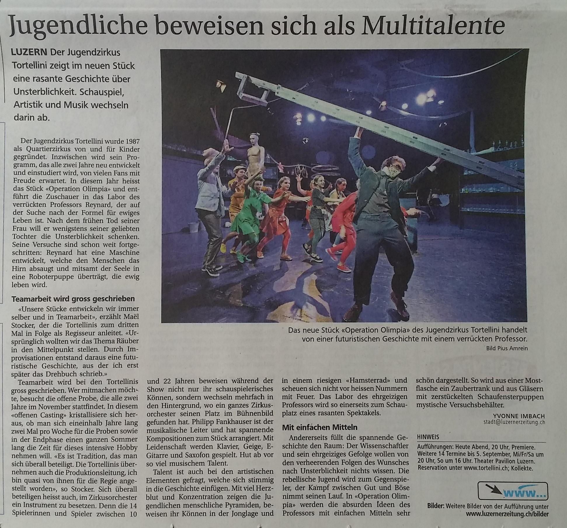 Neue Luzerner Zeitung 07. August 2015