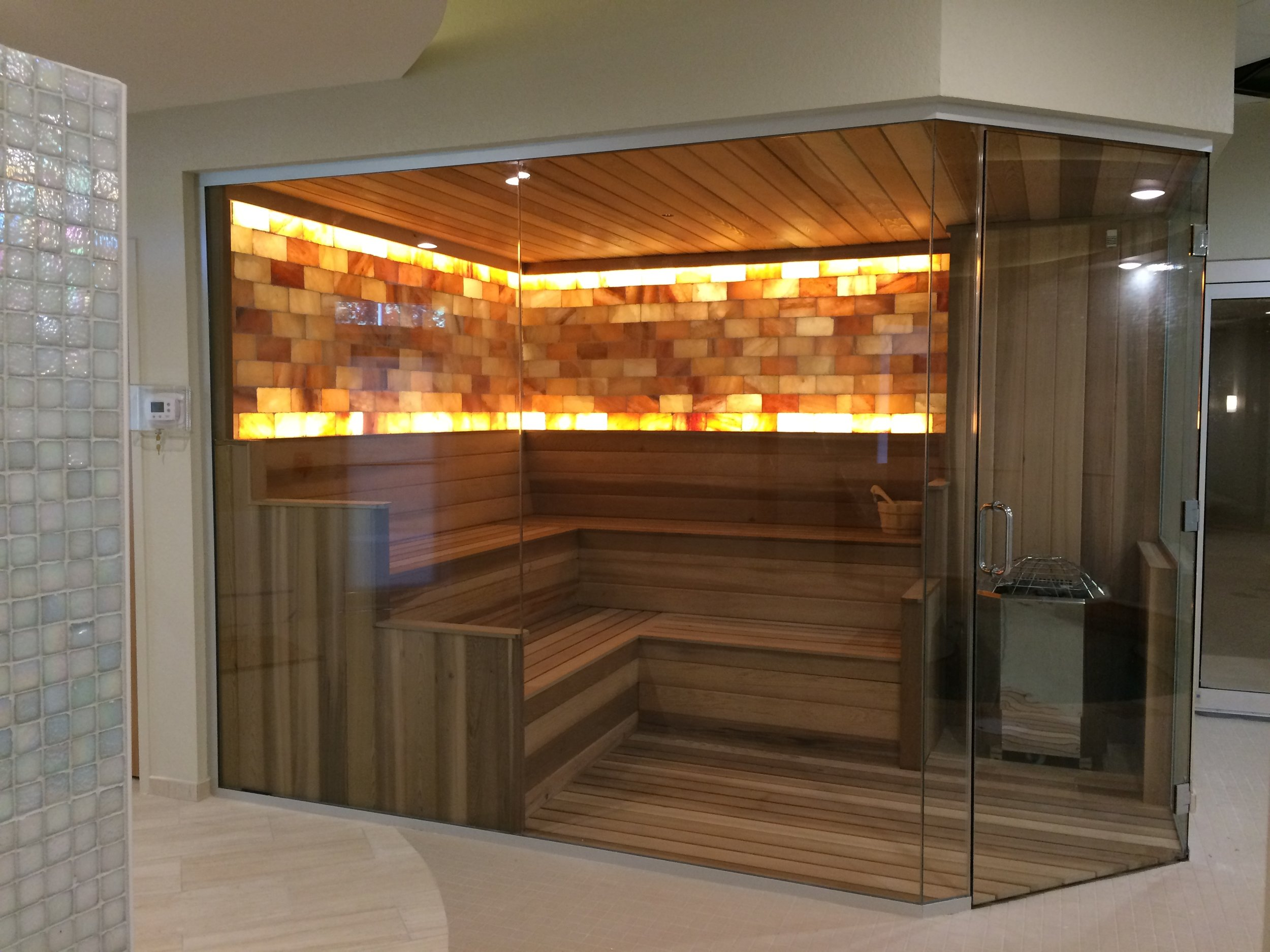 Complete Custom Sauna with Pink Himalayan Salt Stone Walls
