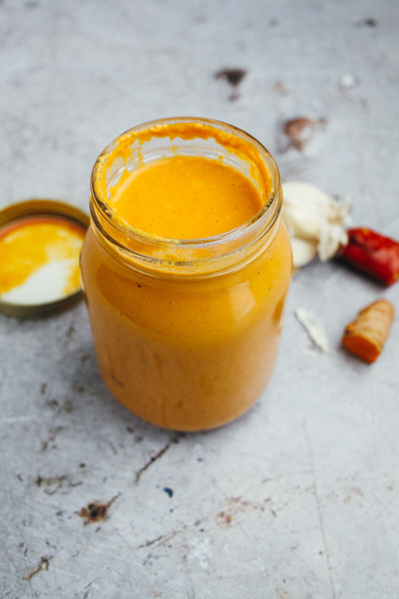Korma Curry Sauce - This sauce is absolutely addicting! Delicious over cooked veggies (especially sweet potatoes) and rice for dinner.Tips: Sub coconut oil for ghee, and almonds for raw cashews. This recipe calls for tomato paste - which can be easily made at home!