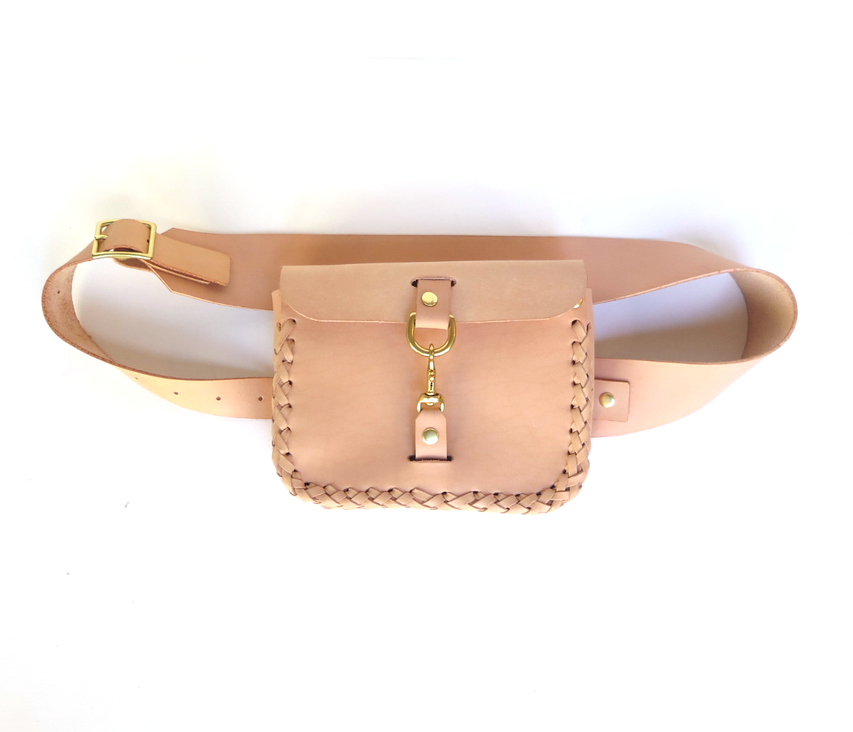 Leather belt bag fanny pack in nude leather by mary savel.png
