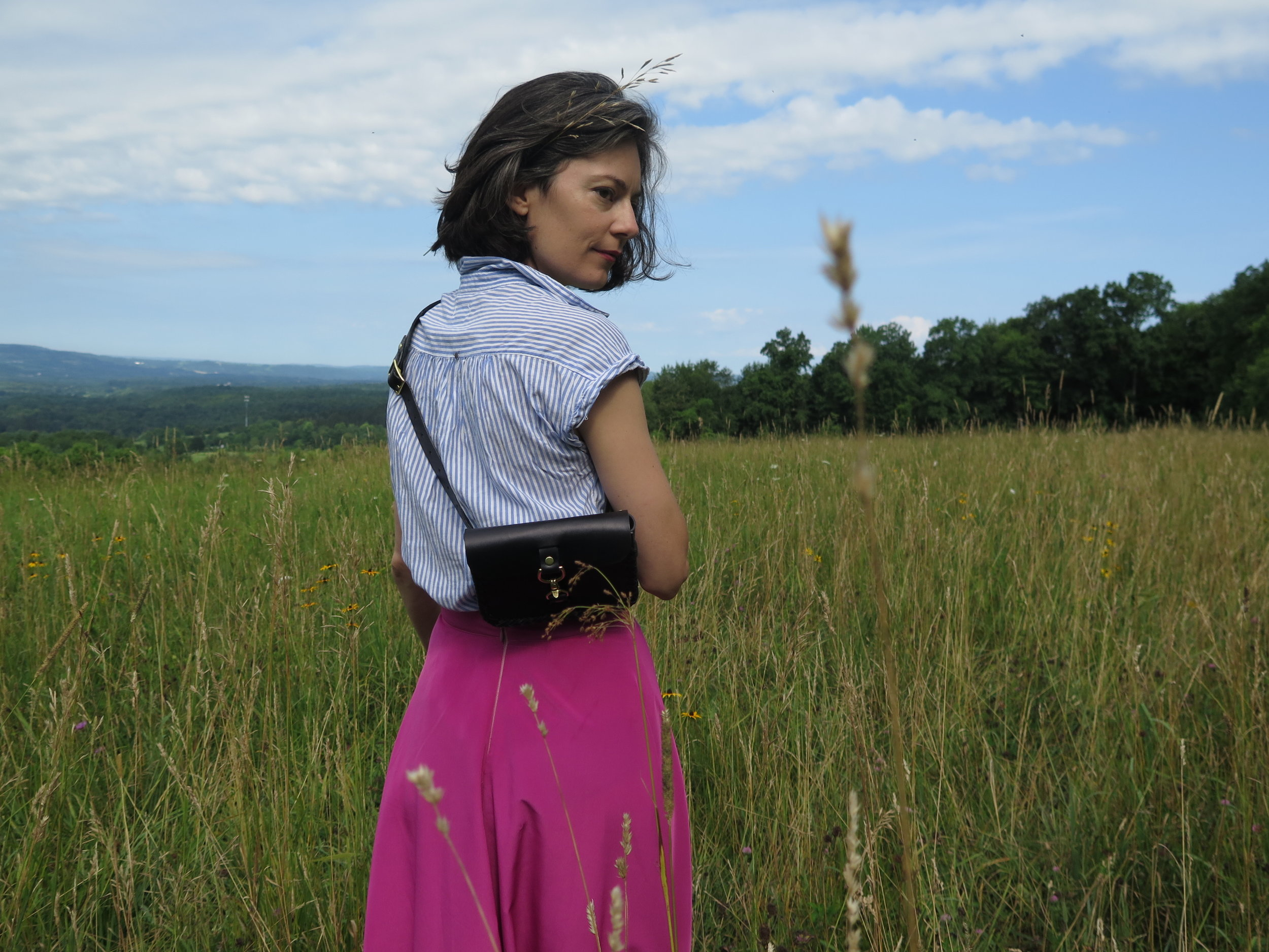 leather belt bag in black by mary savel in a country field 5.JPG