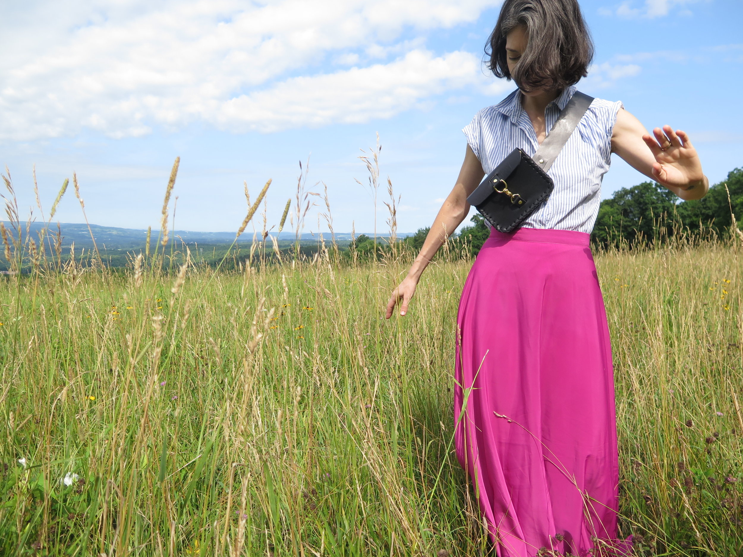 leather belt bag in black by mary savel in a country field 6.JPG