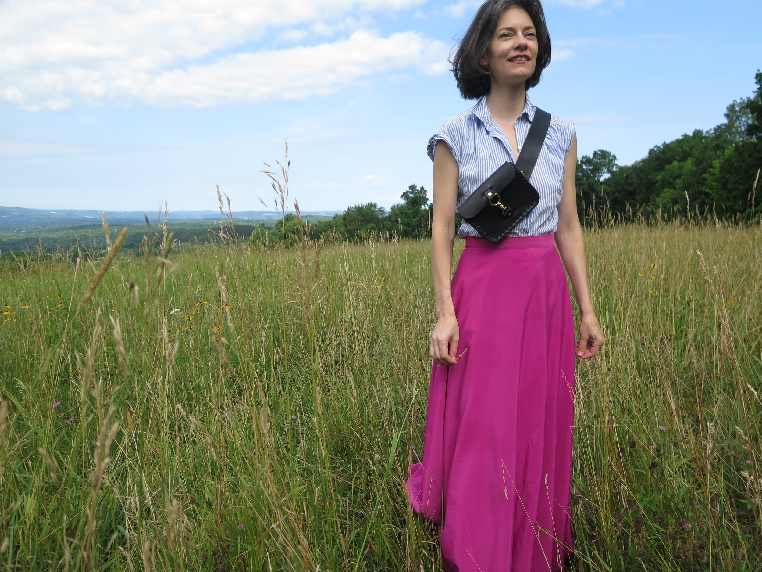 leather belt bag in black by mary savel in a country field 7.JPG