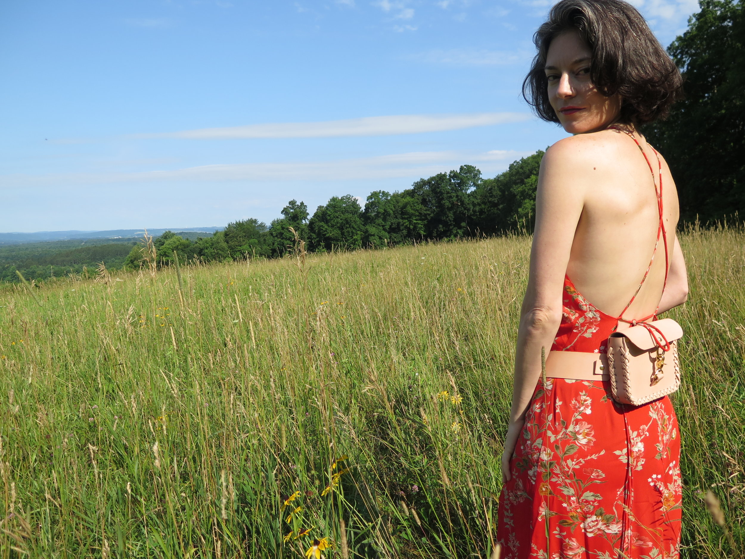 leather belt bag in nude by mary savel in a country field 6.JPG