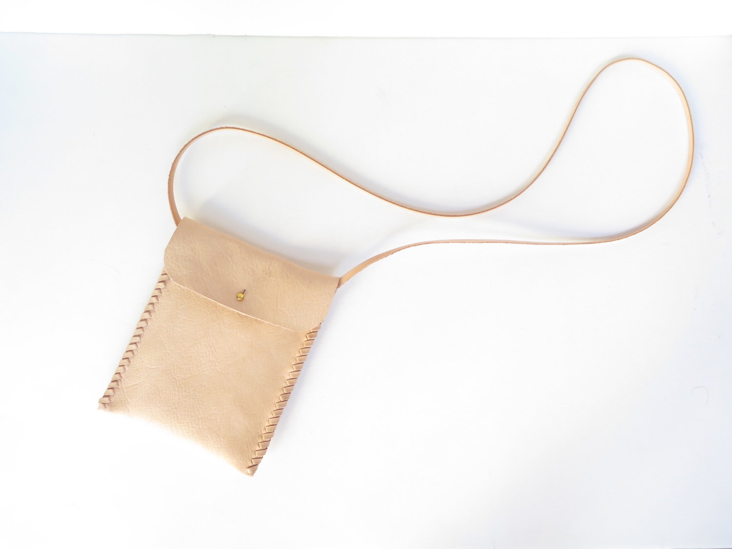 Slim Satchel iphone purse in nude vegetable tanned Leather by Mary Savel