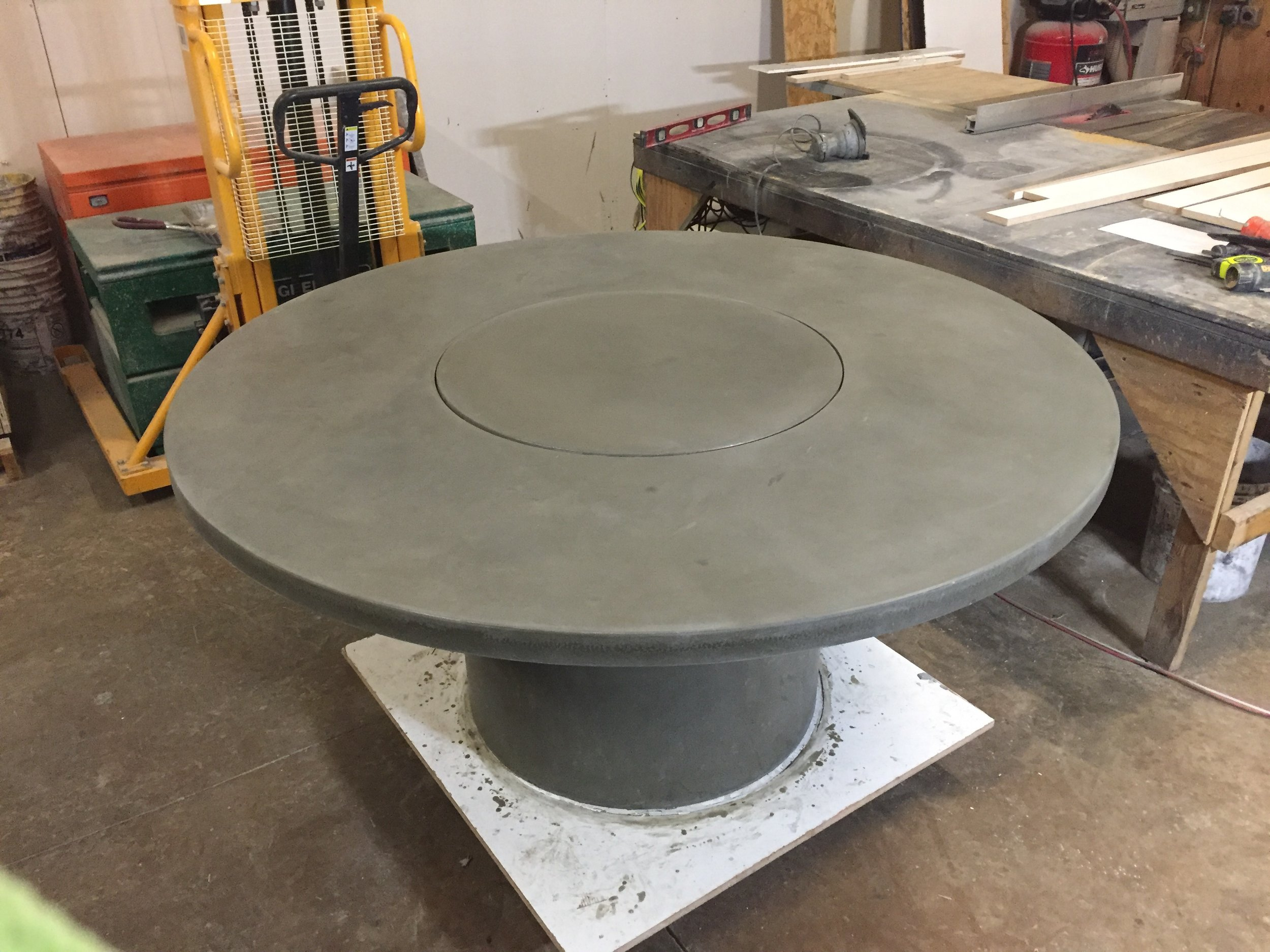 "60"" Round Concrete Table w/ Lazy Susan"
