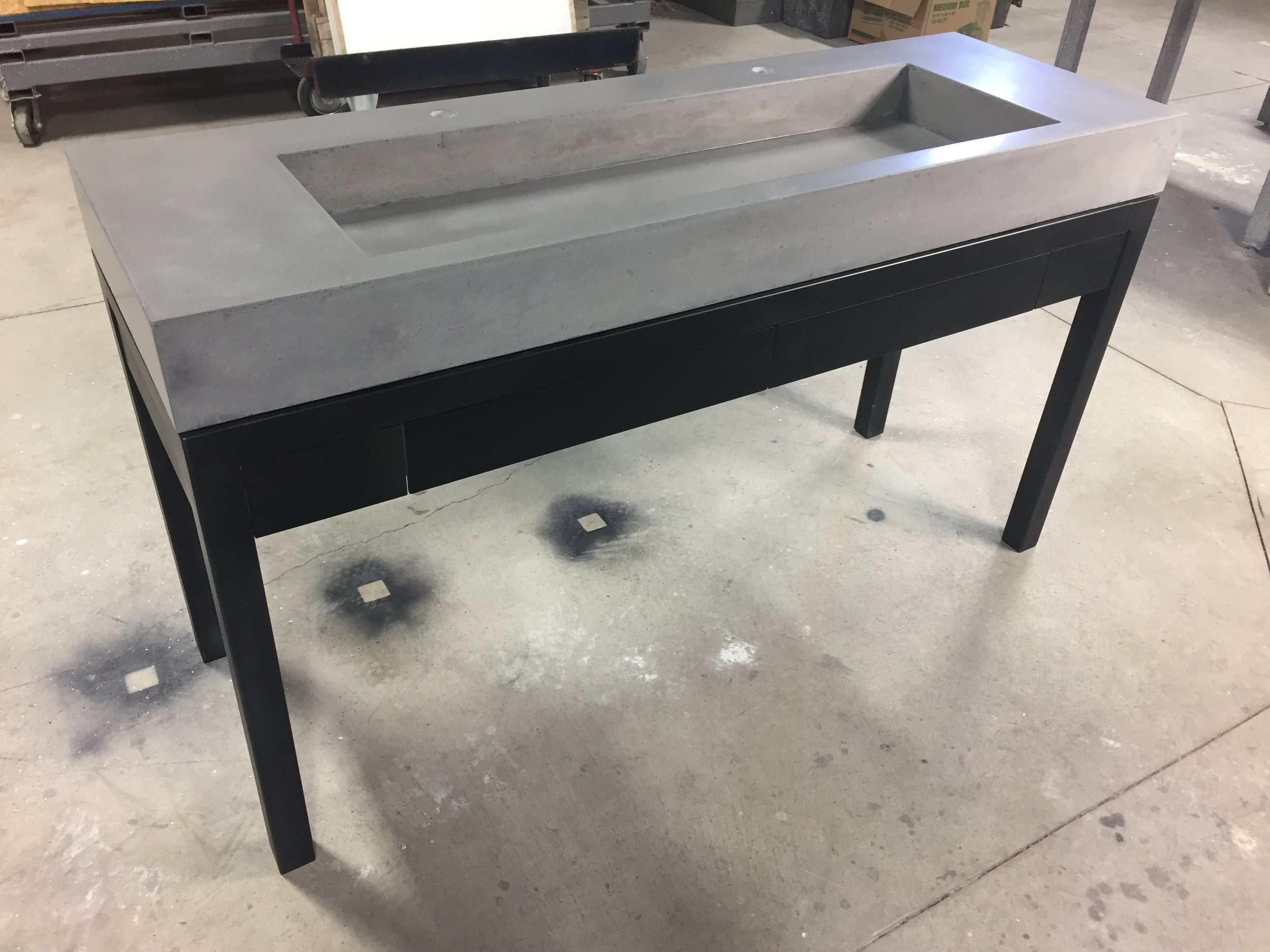 Trough Vanity with Steel Drawers