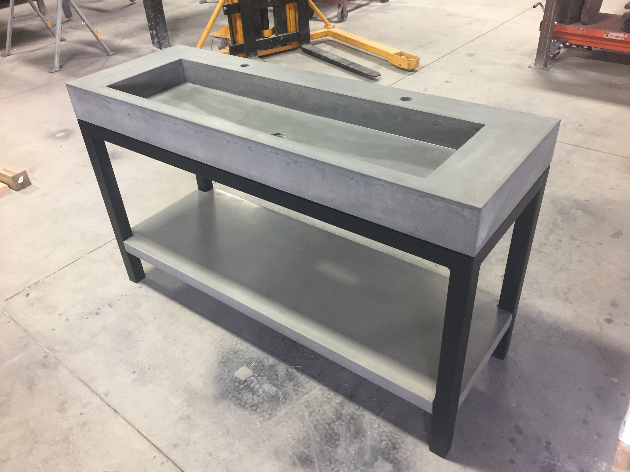 Concrete Trough Vanity with Shelf