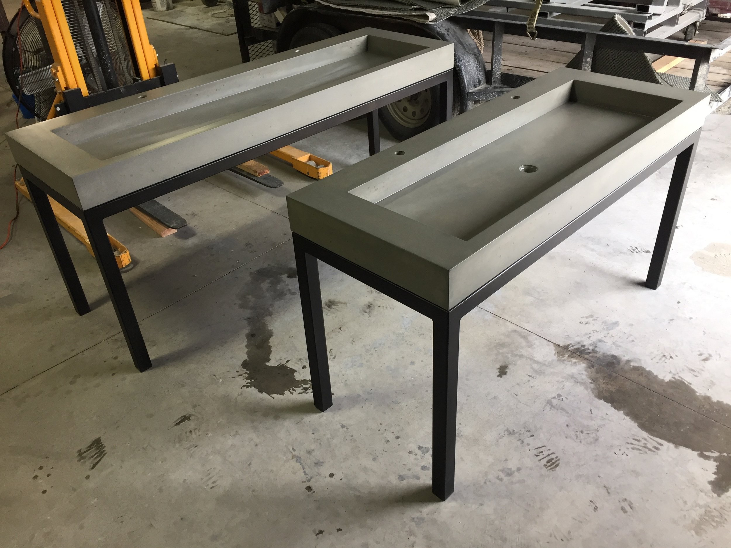 Concrete Trough Sinks on Steel Bases