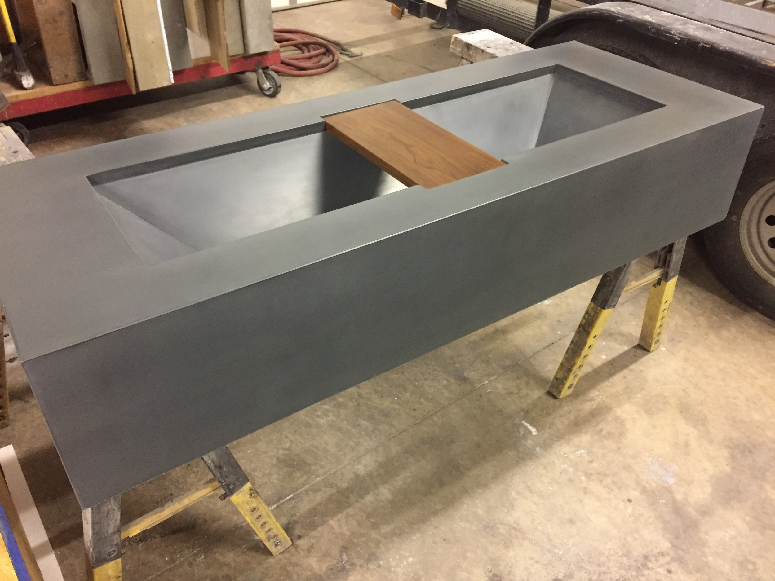 CUSTOM SINK WITH TEAK INTEGRAL SHELF