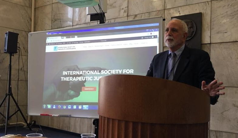 Michael lecturing at the International Academy of Law and Mental Health in Prague, 2017, discussing the International Society for Therapeutic Jurisprudence (ISTJ) -