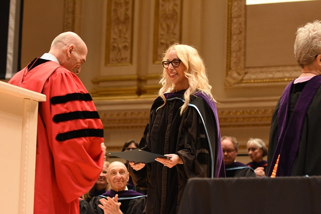 Heather receiving the 2018 New York Law School prestigious Otto L. Walter Distinguished Writing Award for her and Michael's book, Shaming the Constitution: The Detrimental Results of Sexual Violent Predator Legislation. -