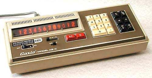 The 1972 Casio model AS-C. Image copyright Nigel Tout of vintagecalculators.com.