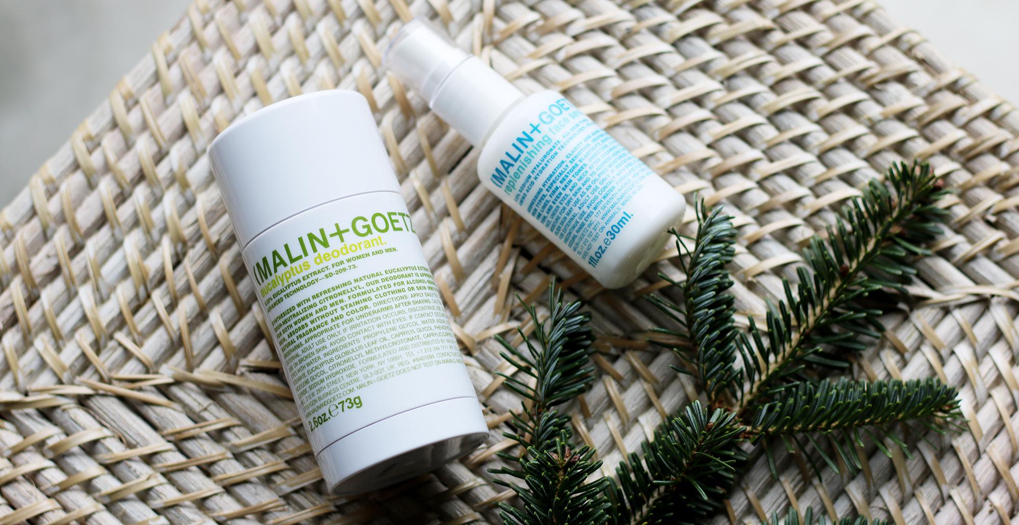 Malin + Goetz  deodorant  and  face serum