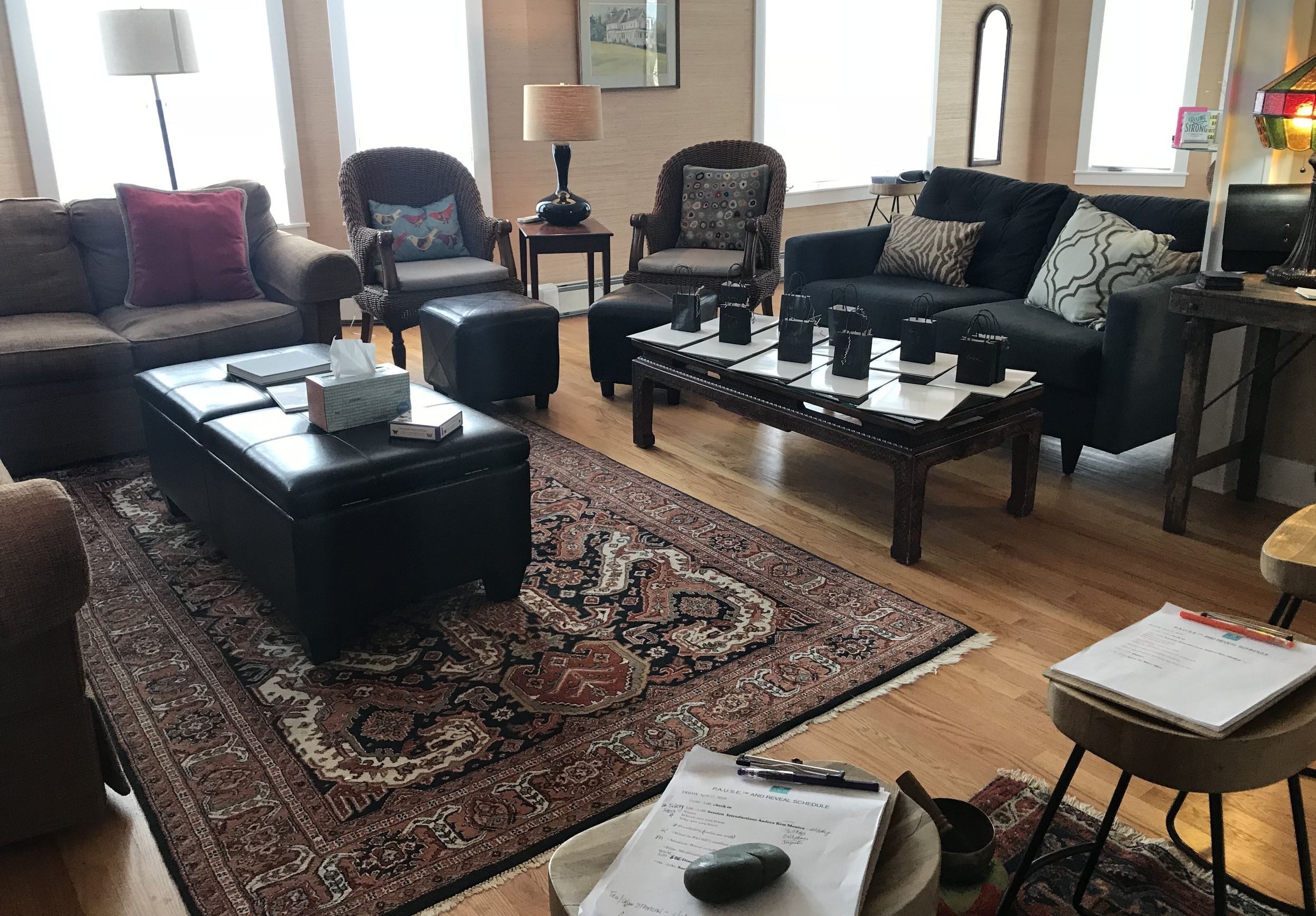 We configured our seating area for 10 participants and 3 guides at the front of the room who delivered the retreat material. We have plenty of stools and extra seating to offer you should you need them.
