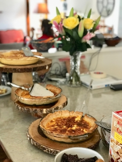The long counter top in the front kitchen is the perfect length for an amazing buffet. A variety of pies are being served here by  Kitchen Chicks Catering Company , and they were DELICIOUS! ( and you can request gluten free!)