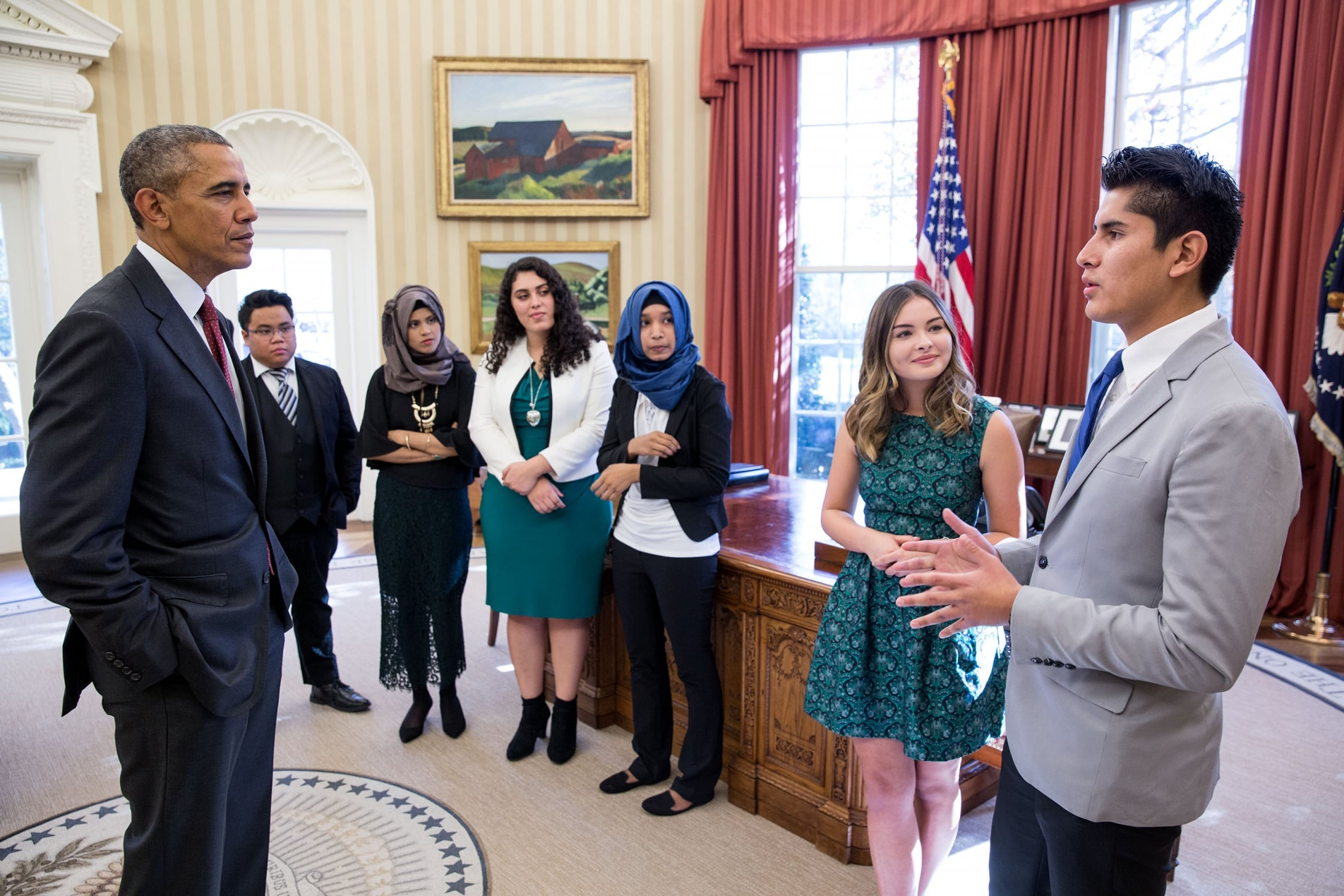 President Barack Obama greets winners of youth entrepreneurship competitions in the Oval Office, Nov. 25, 2015. The President greets from left to right:Joseph Fortuno, Jannatul Rowshan, Crystal Sanchez, Urbana Anam, Rachel Gorgas, and Kenneth Huertas. (Photo Credit: White House/Pete Souza)