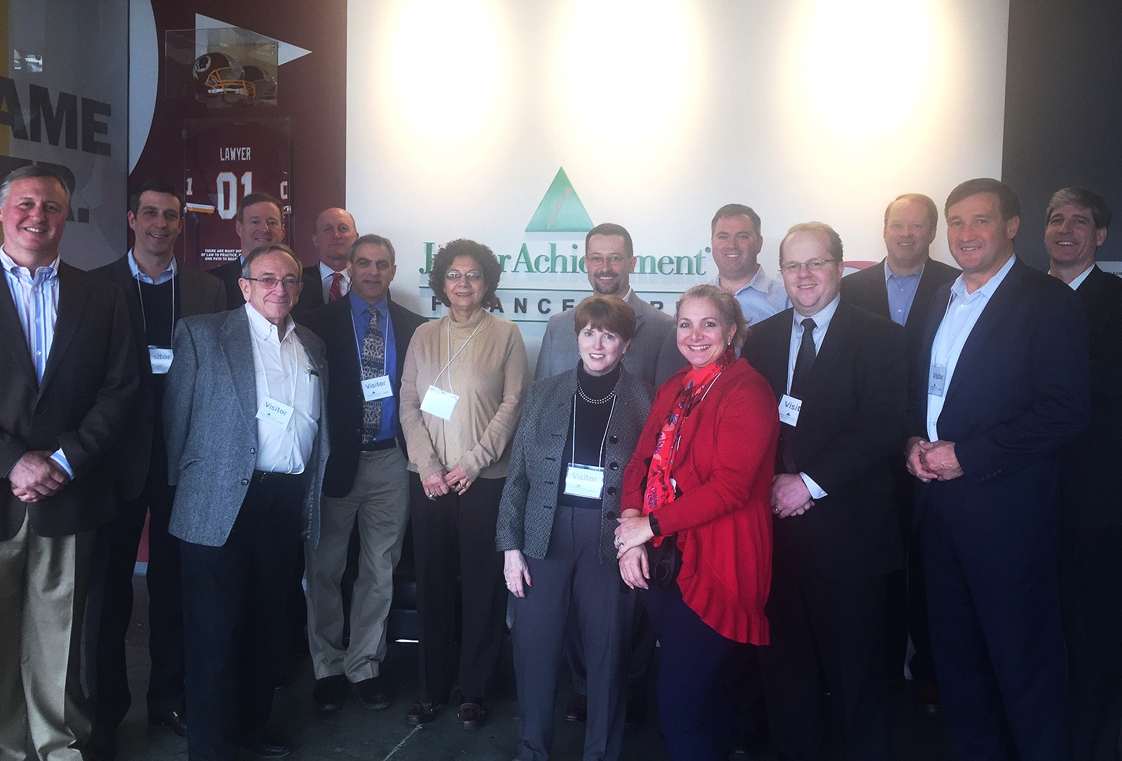 Members of the JA Finance Park® Montgomery County Advisory Council on a tour of the JA Finance Park®Prince George's County facility. Pictured (left to right) is Ed Grenier, Pete Briskman, David Samuels (back), Larry Shulman (front), Rich LaFleur (back), Steve Simon, Shahnaz Tabibi, Derek Whitwer (back), Ginanne Italiano (front), Susan Burkinshaw, Jake Ginsberg, Mark Ellenbogen, Jeff Hearle, Mike Micholas, and Will Schroeder.