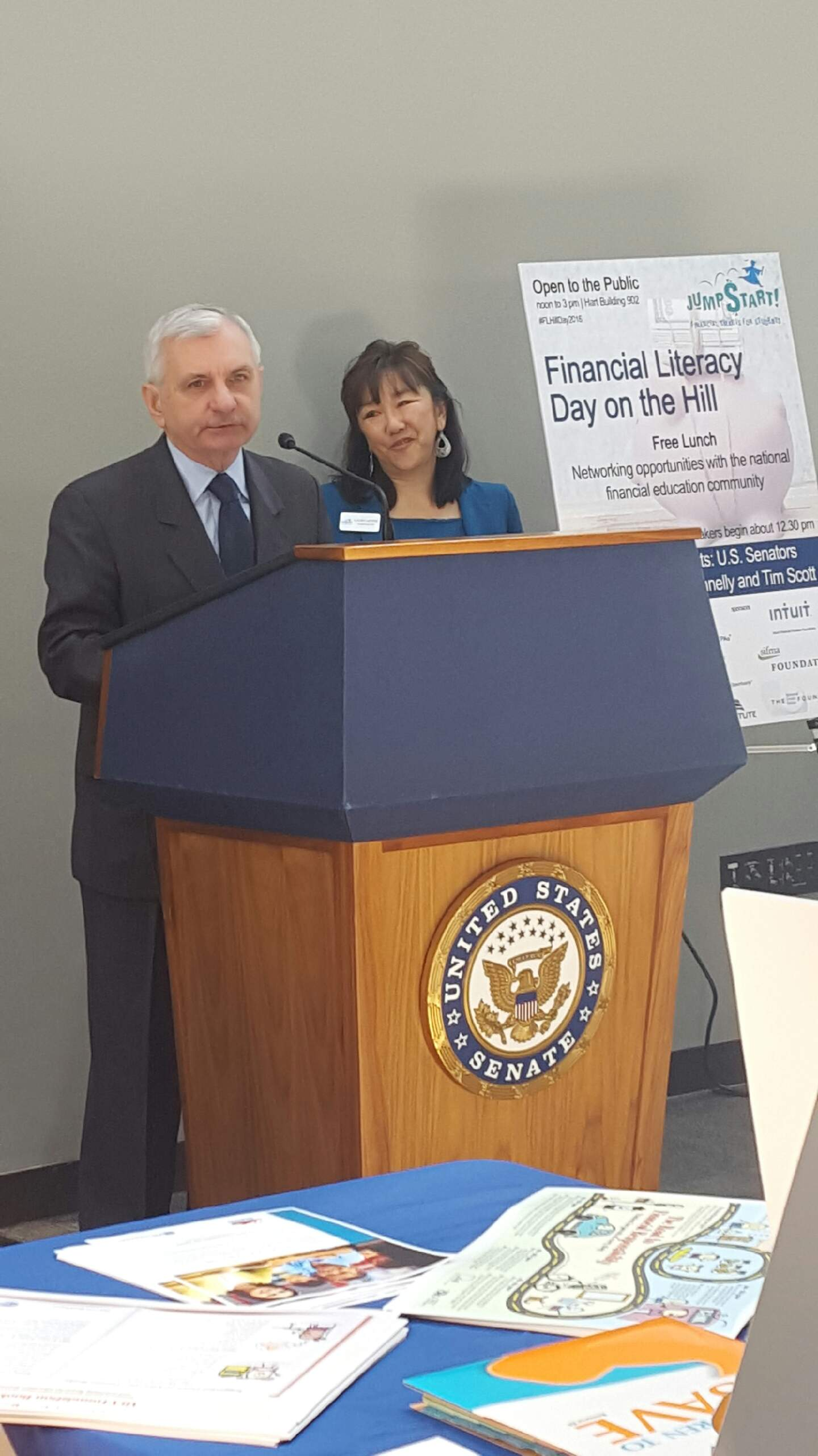 U.S. Senator Jack Reed and Laura Levine, President and CEO of Jump$tart Coalition