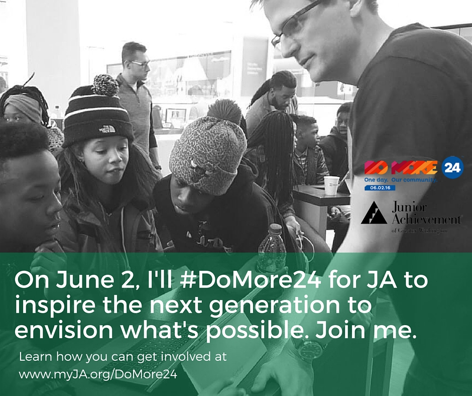 """Facebook graphic; right click and Save As to save.   Facebook Post: On June 2, I'm supporting @JuniorAchievementGW to give our region's youth the tools, exposure, and experiences to answer the demands of the 21st century economy with """"I can."""" You can join me. Learn how to get involved at www.myJA.org/DoMore24. #DoMore24"""