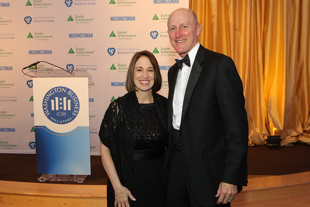 Rich LaFleur and PwC's mid-Atlantic managing partner, Terri McClements, at the 2017 Washington Business Hall of Fame.