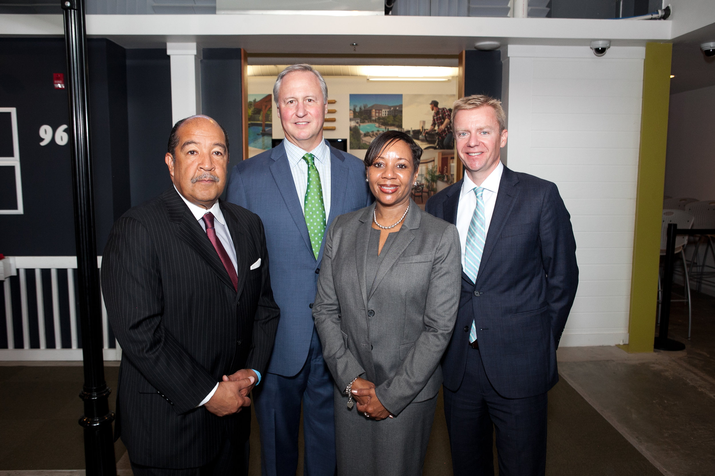 From L to R:  Steve Proctor (President & CEO of G.S. Proctor & Associates, Inc.), Ed Grenier (President and CEO of Junior Achievement of Greater Washington), Dr. Monica E. Goldson (Chief Executive Officer of Prince George's County Public Schools), and Jack Harris (President and Chief Executive Officer of 3DE)